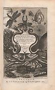 title page Copperplate print from Johannes Jonston book of nature 'Dr. I. Ionstons Beschrijving vande natuur der vogelen neffens haer beeldenissen in koper gesneden' Published in Amsterdam in 1660