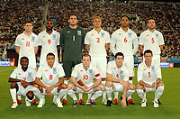 Khalifa Stadium Doha Brazil v England 14/11/2009<br /> England L to R back, James Milner, Darren Bent, Ben Foster,Wes Brown, Joleon Lescott. Front Sean Wright Phillips, Jermaine Jenas, Wayne Rooney (Capt)  Gareth Barry, Wayne Bridge<br /> Photo Roger Parker Fotosports International