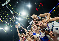 Goran Dragic of Slovenia, Gasper Vidmar of Slovenia, Klemen Prepelic of Slovenia, Luka Doncic of Slovenia, Sasa Zagorac of Slovenia, Edo Muric of Slovenia, Jaka Blazic of Slovenia celebrating at Trophy ceremony after winning during the Final basketball match between National Teams  Slovenia and Serbia at Day 18 of the FIBA EuroBasket 2017 when Slovenia became European Champions 2017, at Sinan Erdem Dome in Istanbul, Turkey on September 17, 2017. Photo by Vid Ponikvar / Sportida