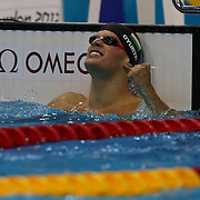 Daniel Gyurta, Hungary, winning the gold medal in world record time during the Men's 200m Breaststroke Final at the Aquatic Centre at Olympic Park, Stratford during the London 2012 Olympic games. London, UK. 1st August 2012. Photo Tim Clayton