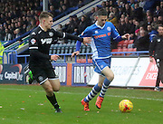 Scott Tanser, Max Power during the Sky Bet League 1 match between Rochdale and Wigan Athletic at Spotland, Rochdale, England on 14 November 2015. Photo by Daniel Youngs.