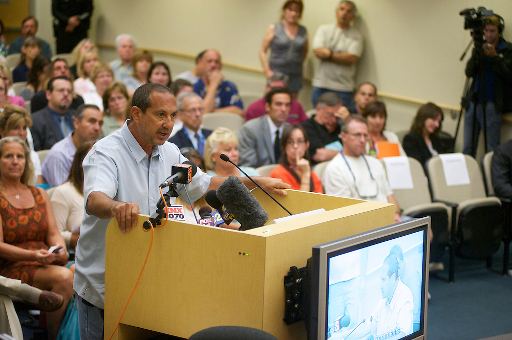Tony Bushala during a Fullerton City Council Meeting where public comments dominated the session.  Discussed was the death of Kelly Thomas, a mentally ill homeless man that died after an altercation with Fullerton Police. During the months since, two FPD officers have been charged with 2nd dgree murder and involuntary manslaughter and ar ecall campaign has begun agains three seated council members.