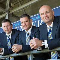 St Johnstone Chairman Steve Brown (centre) pictured at McDiarmid Park this morning with Charlie Fraser (right) who has been appointed Vice-Chairman and John McDougall who has been made a Director...10.07.14<br /> Picture by Graeme Hart.<br /> Copyright Perthshire Picture Agency<br /> Tel: 01738 623350  Mobile: 07990 594431