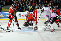 KELOWNA, CANADA, NOVEMBER 5: Mac Carruth #31 of the Portland Winterhawks makes a save as the Portland Winterhawks visit the Kelowna Rockets  on November 5, 2011 at Prospera Place in Kelowna, British Columbia, Canada (Photo by Marissa Baecker/Shoot the Breeze) *** Local Caption ***