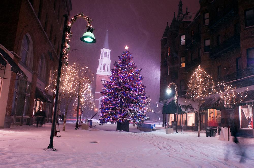 Winter on Church Street in Burlington, Vermont.