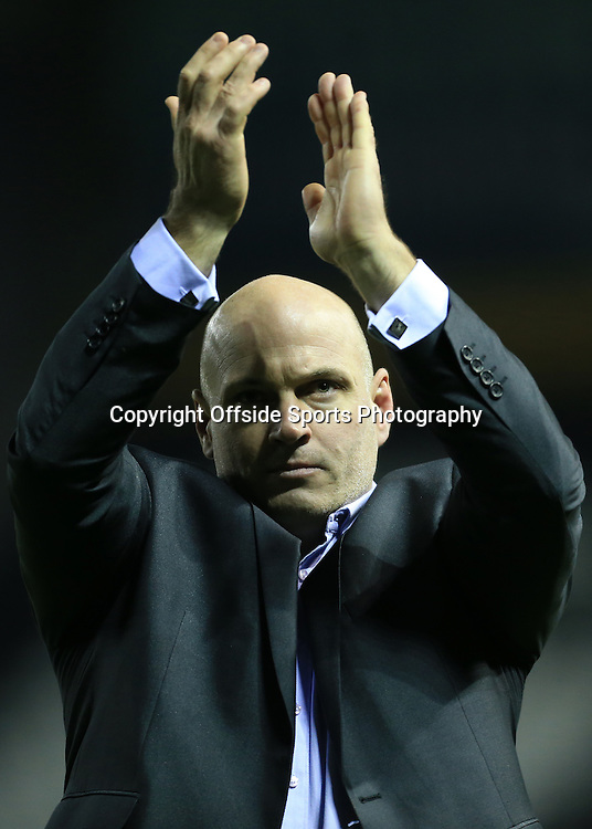 3rd January 2015 - FA Cup - 3rd Round - Derby County v Southport - Southport manager Gary Brabin applauds the travelling support after the match - Photo: Simon Stacpoole / Offside.