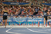 Wenjun Xie, China, Orlando Ortega, Spain, Grant Holloway, USA, Sergey Shubenkov, Authourised Neutral Athlete, Men's 110m Hurdles, during the Diamond League Meeting at Stade Charlety, Paris, France on 24 August 2019.