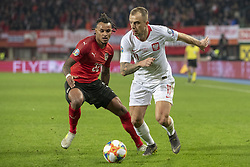 March 21, 2019 - Vienna, Austria - Kamil Grosicki of Poland fights for the ball with Valentino Lazaro of Austria during the UEFA European Qualifiers 2020 match between Austria and Poland at Ernst Happel Stadium in Vienna, Austria on March 21, 2019  (Credit Image: © Andrew Surma/NurPhoto via ZUMA Press)