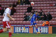 Oldham Athletic midfielder Timothee Dieng   crosses the ball in during the The FA Cup match between Sheffield Utd and Oldham Athletic at Bramall Lane, Sheffield, England on 5 December 2015. Photo by Simon Davies.