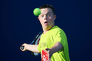 SO athlete in action while Unified Tennis Experience during sixth day of the Special Olympics World Games Los Angeles 2015 on July 30, 2015 at Tennis Centre on UCLA (University of California Los Angeles) in Los Angeles, USA.<br /> <br /> USA, Los Angeles, July 30, 2015<br /> <br /> Picture also available in RAW (NEF) or TIFF format on special request.<br /> <br /> For editorial use only. Any commercial or promotional use requires permission.<br /> <br /> Adam Nurkiewicz declares that he has no rights to the image of people at the photographs of his authorship.<br /> <br /> Mandatory credit:<br /> Photo by © Adam Nurkiewicz / Mediasport