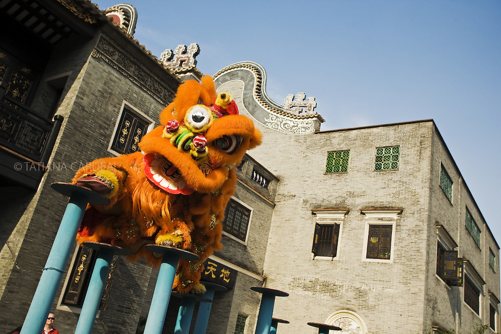 Artist performing a traditional lion dance at Wong Fei Hung Museum.<br />