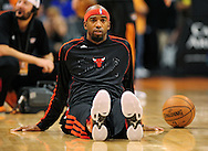Nov. 14, 2012; Phoenix, AZ, USA; Chicago Bulls guard Richard Hamilton (32) stretches prior to the game against the Phoenix Suns at the US Airways Center.  The Bulls defeated the Suns 112-106 in overtime. Mandatory Credit: Jennifer Stewart-USA TODAY Sports.