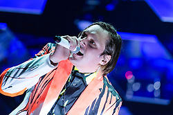 © Licensed to London News Pictures. 29/05/2014. Barcelona, Spain.   Arcade Fire performing live at Primavera Sound Festival.    Arcade Fire is a Canadian indie rock band consisting of husband and wife Win Butler (vocals,guitar,keyboards) and Régine Chassagne (vocals, accordion and others), along with Win's brother Will Butler (synth/bass/guitar), Richard Reed Parry (bass, guitar) Tim Kingsbury (guitar/bass)and Jeremy Gara (drums).  Primavera Sound, or simply Primavera, is an annual music festival that takes place in Barcelona, Spain in late May/June within the Parc del Fòrum leisure site. Photo credit : Richard Isaac/LNP