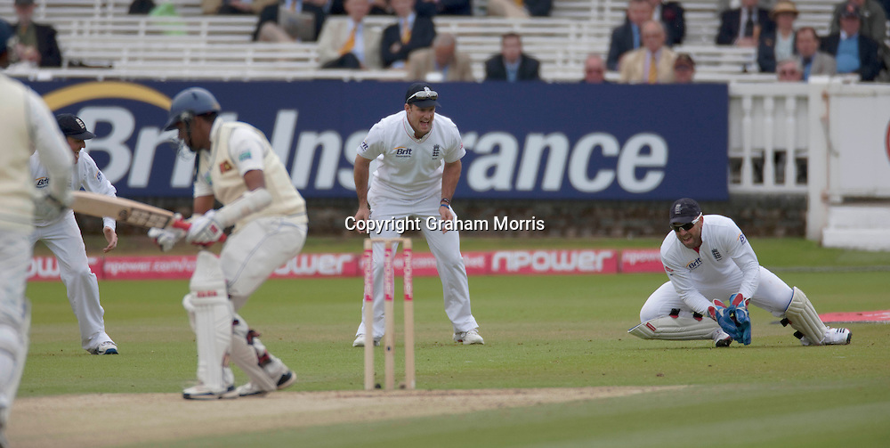 Matt Prior catches Thilan Samaraweera during the second npower Test Match between England and Sri Lanka at Lord's.  Photo: Graham Morris (Tel: +44(0)20 8969 4192 Email: sales@cricketpix.com) 06/06/11