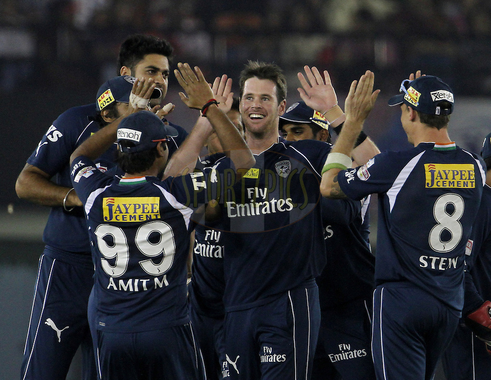 Deccan Chargers player Daniel Christian celebrates with his team mates after taking a wicket during match 61 of the Indian Premier League ( IPL) 2012  between The Kings X1 Punjab and The Deccan Chargers held at the Punjab Cricket Association Stadium, Mohali on the13th May 2012..Photo by Vipin Pawar/IPL/SPORTZPICS