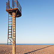 A rusting lifeguard tower on an empty beach near Almeria, Spain.<br />