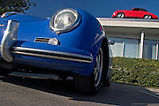 Image of a blue Porsche 356 automobile at Dunkel's in Anaheim, California, America west coast