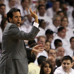 Jun 17, 2012; Miam, FL, USA; Miami Heat head coach Erik Spoelstra reacts during the first quarter in game three in the 2012 NBA Finals against the Oklahoma City Thunder at the American Airlines Arena. Mandatory Credit: Derick E. Hingle-US PRESSWIRE