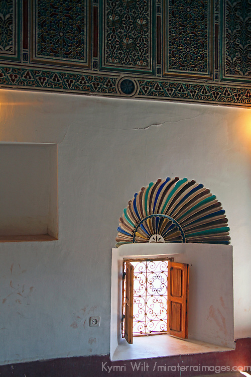 Africa, Morocco, Ouarzazate. Interior room of Taourirt Kasbah near Ouarzazate, historical palace partially restored by UNESCO.