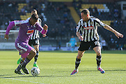Plymouth Argyle forward Reuben Reid takes on Notts County defender Gill Swerts during the Sky Bet League 2 match between Notts County and Plymouth Argyle at Meadow Lane, Nottingham, England on 11 October 2015. Photo by Simon Davies.