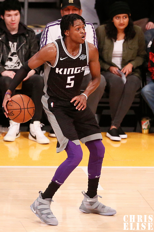 09 January 2018: Sacramento Kings guard De'Aaron Fox (5) is seen during the LA Lakers 99-86 victory over the Sacramento Kings, at the Staples Center, Los Angeles, California, USA.