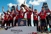 The Great Sound, Bermuda, 21st June 2017, Red Bull Youth America's Cup Finals. Race four. Land Rover BAR Academy (GBR) winners of the Red Bull Youth America's Cup Trophy.