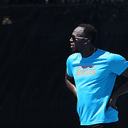 Usain Bolt, Jamaica, warming up before the Men's 200m during the Diamond League Adidas Grand Prix at Icahn Stadium, Randall's Island, Manhattan, New York, USA. 13th June 2015. Photo Tim Clayton