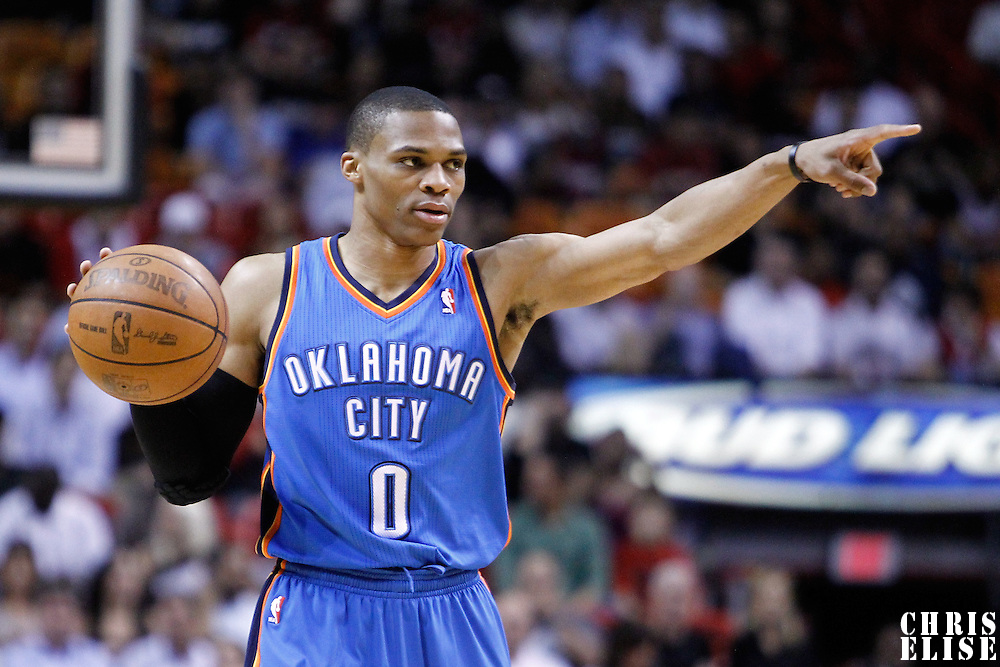 16 March 2011: Oklahoma City Thunder point guard Russell Westbrook (0) calls a play during the Oklahoma City Thunder 96-85 victory over the Miami Heat at the AmericanAirlines Arena, Miami, Florida, USA.
