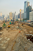 Building work on reclaimed land close to the Central Pier area Hong Kong  August 2008