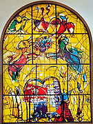 The Tribe of Levi. The Twelve Tribes of Israel depicted in stained glass By Marc Chagall (1887 - 1985). The Twelve Tribes are Reuben, Simeon, Levi, Judah, Issachar, Zebulun, Dan, Gad, Naphtali, Asher, Joseph, and Benjamin.