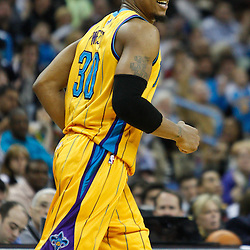 February 12, 2011; New Orleans, LA, USA; New Orleans Hornets power forward David West (30) against the Chicago Bulls during the second quarter at the New Orleans Arena.   Mandatory Credit: Derick E. Hingle