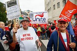 © Licensed to London News Pictures. 10/07/2014. LONDON, UK. Pensioners marching with public sector workers from BBC Broadcasting House to Trafalgar Square in central London to protest in a series of disputes with the government over pay, pensions and cuts, with more than a million public sector workers expected to join the action across the UK. Photo credit : Tolga Akmen/LNP