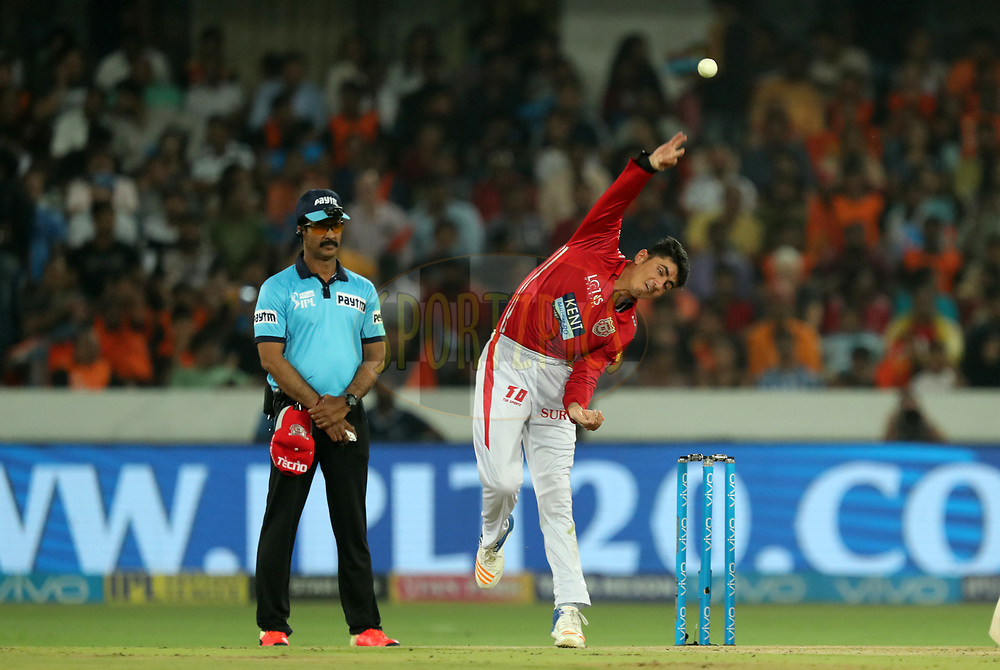 Mujeeb Zadran of Kings XI Punjab during match twenty five of the Vivo Indian Premier League 2018 (IPL 2018) between the Sunrisers Hyderabad and the Kings XI Punjab  held at the Rajiv Gandhi International Cricket Stadium in Hyderabad on the 26th April 2018.<br /> <br /> Photo by: Prashant Bhoot /SPORTZPICS for BCCI