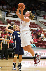 November 1, 2009; Stanford, CA, USA;  Stanford Cardinal forward Mikaela Ruef (3) shoots over Vanguard Lions guard Veronica Beavor (10) during the second half at Maples Pavilion.  Stanford defeated Vanguard 107-49.