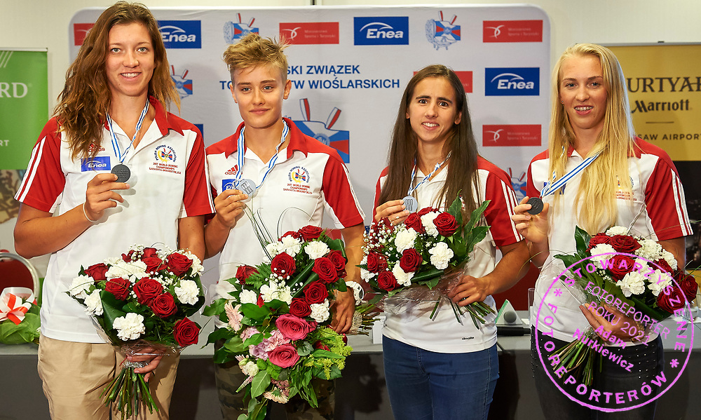 Warsaw, Poland - 2017 October 03: Agnieszka Kobus (AZS AWF Warszawa) and Katarzyna Zillmann (AZS UMK Energa Torun) and Marta Wieliczko (Wisla Grudziadz) and Maria Springwald (AZS AWF Krakow) Polish rower W4x pose to the picture during press conference of Polish Rowing National Team at Chopin Airport on October 03, 2017 in Warsaw, Poland.<br /> <br /> Mandatory credit:<br /> Photo by &copy; Adam Nurkiewicz / Mediasport<br /> <br /> Adam Nurkiewicz declares that he has no rights to the image of people at the photographs of his authorship.<br /> <br /> Picture also available in RAW (NEF) or TIFF format on special request.<br /> <br /> Any editorial, commercial or promotional use requires written permission from the author of image.