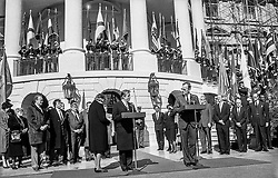 Dream journey: Canada and the United States, 18&ndash;23 February 1990<br /> With President George H. W. Bush in front of the White House, Washington, DC