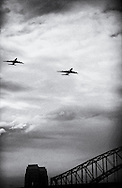 Copyright JIm Rice © 2013<br /> Qantas and Emirates A380,s <br /> Fly over Sydney.<br /> to mark thier joint venture