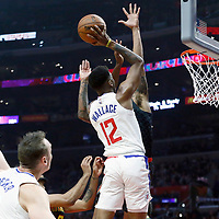 08 January 2018: LA Clippers guard Tyrone Wallace (12) goes for the dunk during the LA Clippers 108-107 victory over the Atlanta Hawks, at the Staples Center, Los Angeles, California, USA.