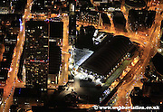night aerial photograph of Manchester Greater Manchester  England UK showing the Beetham Tower / Hilton Tower / Hilton Hotel and GMEX / Manchester Central Convention Complex  at night