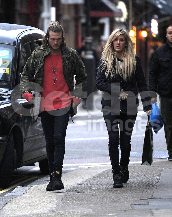 Brit Award winner Ellie Goulding and Dougie Poynter leave Ellie's house together and go to Harrods for a spot of shopping. The pair have recently denied rumours of them dating... London, UK. 24/02/2014<br />