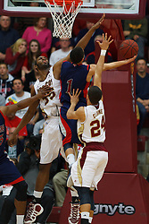 Jan 21, 2012; Santa Clara CA, USA;  St. Mary's Gaels guard Jorden Page (1) is fouled by Santa Clara Broncos center Robert Garrett (35) during the first half at the Leavey Center.  Mandatory Credit: Jason O. Watson-US PRESSWIRE