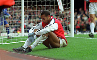 Thierry Henry relaxes after scoring his 3rd and Arsenals 5th goal. Arsenal 6:1 Leicester City, FA Carling Premiership, 26/12/2000. Credit Colorsport / Andrew Cowie.