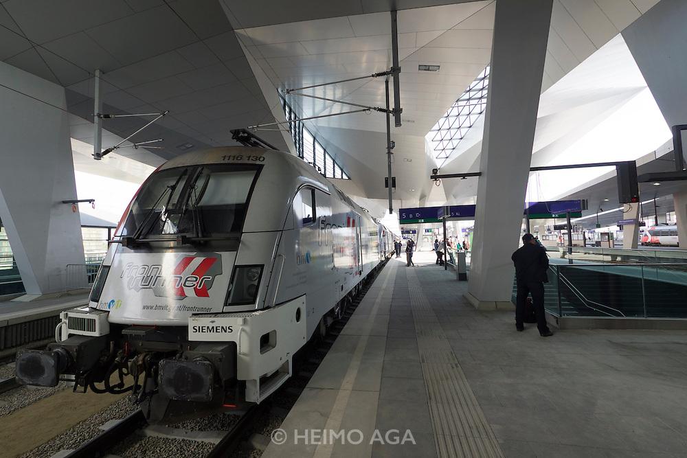 Vienna's new Hauptbahnhof (Main Railway Station) opening days. ÖBB special locomotives exhibition.