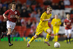 Manchester, England - Thursday, April 26, 2007: Liverpool's Steven Irwin in action against Manchester United during the FA Youth Cup Final 2nd Leg against Liverpool at Old Trafford. (Pic by David Rawcliffe/Propaganda)