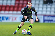 Forest Green Rovers Nathan McGinley(19) on the ball during the EFL Sky Bet League 2 match between Stevenage and Forest Green Rovers at the Lamex Stadium, Stevenage, England on 26 December 2019.