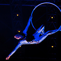 London, UK - 4 Janaury 2014: Danila Bim, Lais Camila and Lisa Skinner perform on stage the Aerial Hoops act during the dress rehearsal of Quidam at the Royal Albert Hall. (available only for editorial coverage of the Production)