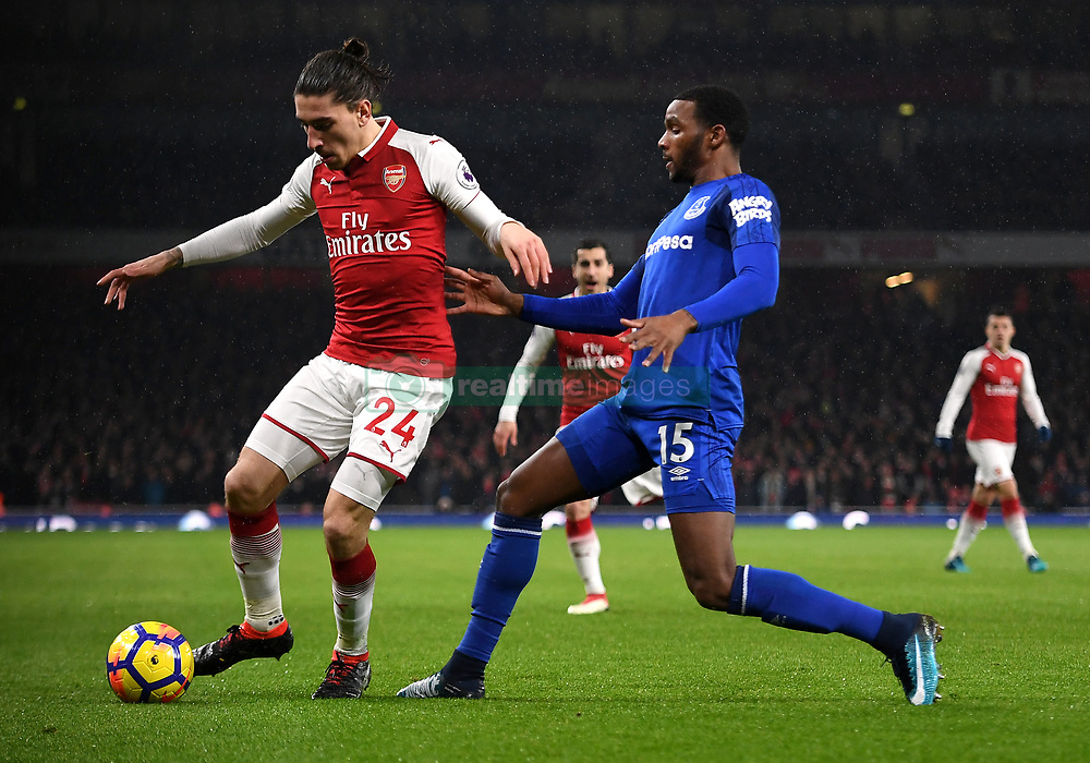 Arsenal's Hector Bellerin (left) and Everton's Cuco Martina battle for the ball during the Premier League match at the Emirates Stadium, London.