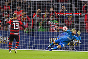Ajax goal keeper Kostas Lamprou (26) attempts to stop a penalty kick by Flamengo forward Miguel Trauco (13) during a Florida Cup match at Orlando City Stadium on Jan. 10, 2019 in Orlando, Florida. <br /> Flamengo won in penalties 4-3.<br /> <br /> ©2019 Scott A. Miller