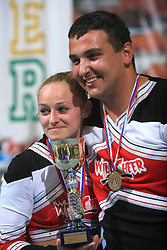 Best couple in Partner Stunt Olympia Wosnitza & Daniel Smit, Germany celebrates during final ceremony at second day of European Cheerleading Championship 2008, on July 6, 2008, in Arena Tivoli, Ljubljana, Slovenia. (Photo by Vid Ponikvar / Sportal Images).