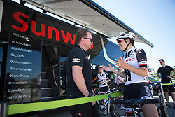 Lucinda Brand (NED) of Team Sunweb chats to her team mechanic before Stage 4 of the Giro Rosa - a 118 km road race, starting and finishing in Occhiobello on July 3, 2017, in Rovigo, Italy. (Photo by Balint Hamvas/Velofocus.com)